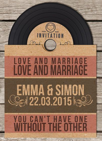 Vinyl Retro Vintage CD Wedding Invitation by BeOurGuestDesigns