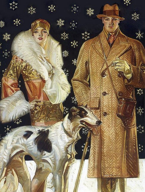soyouthinkyoucansee: 1925 J.C. Leyendecker (American; 1874-1951)  ~ A Stroll In The Snow