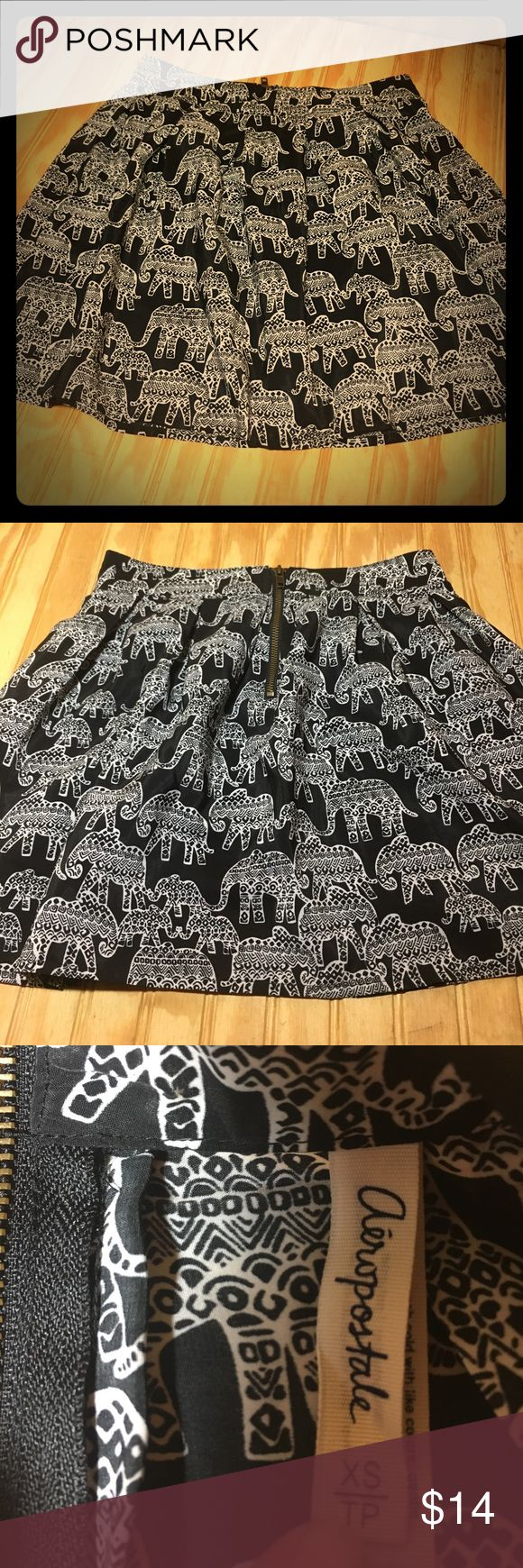 Aeropostale black elephant mini skirt, xs Aeropostale black & white elephant tribal print mini skirt with zipper, xs Aeropostale Skirts Mini