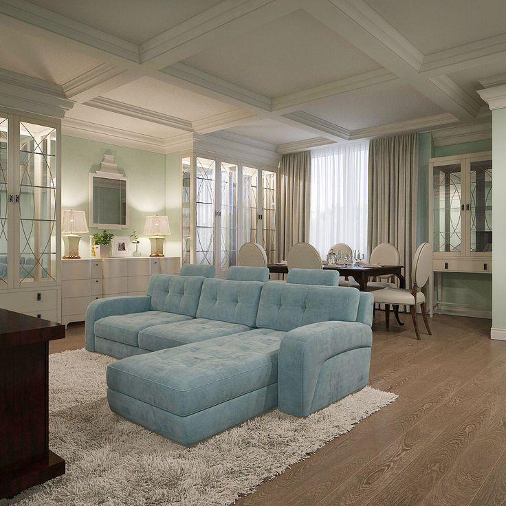 Living room. Гостиная 3d визуализация. ( один из вариантов решения гостиной )