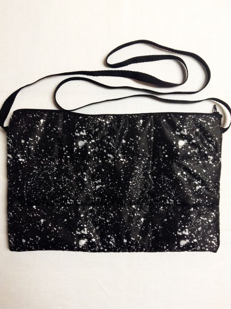 Black and White Splatter Puffer Crossbody Bag by Clutch89 on Etsy