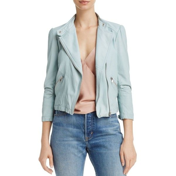 Rebecca Taylor Washed Leather Moto Jacket ($1,010) ❤ liked on Polyvore featuring outerwear, jackets, ocean dusk, pastel moto jacket, moto jackets, blue leather jackets, rider leather jacket and genuine leather biker jacket