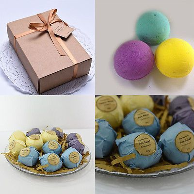 Natural Bubble Bath Salt Bomb Ball Essential Oil Handmade SPA Bath Fizzy Christmas Gift for Her 6 Pack Free Shipping