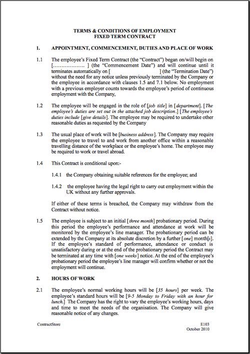 fixed short term employment contract template