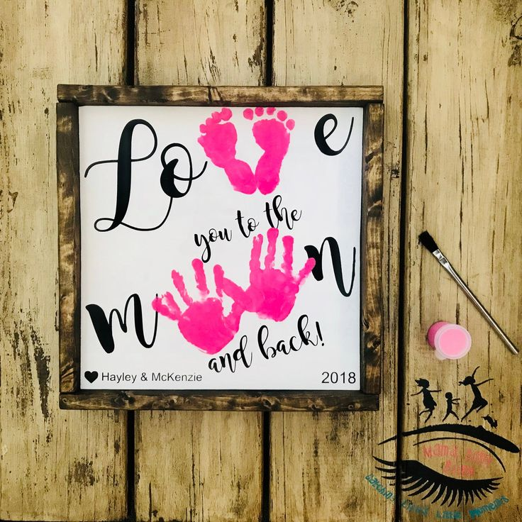 Love you to the Moon and Back Wooden Sign, Handprint and Footprint Art, Toddler Footprint Craft, Baby Footprint Craft   – Homemade birthday cards
