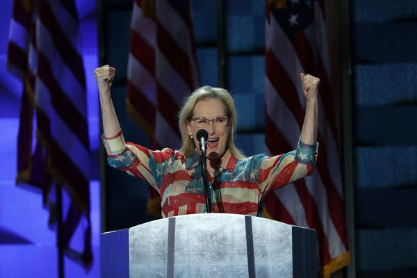 Meryl Streep Photos - Actress Meryl Streep arrives on stage to deliver remarks on the second day of the Democratic National Convention at the Wells Fargo Center, July 26, 2016 in Philadelphia, Pennsylvania. Democratic presidential candidate Hillary Clinton received the number of votes needed to secure the party's nomination. An estimated 50,000 people are expected in Philadelphia, including hundreds of protesters and members of the media. The four-day Democratic National Convention kicked…