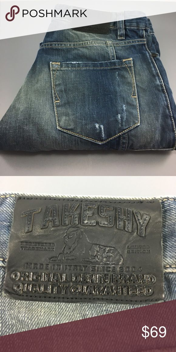 "⭐️Men's Takeshy Kurosawa Denim Jean size 32 US ⭐️Men's Takeshy Kurosawa Denim Jean in size 48 Italy converted to size US 32 (still very small, fits more like a 30) inseam 27"" and rise 9 1/2"". Leg width opening is 6 1/2"" across. Measurements are approximate. Jean has designer distress and fade throughout. The style is a carrot fit. Handsome pair from Takeshy Denim! Takeshy Kurosawa Jeans"