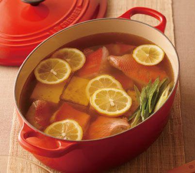 金目鯛と焼き豆腐のレモン鍋 - ル・クルーゼレシピサイト