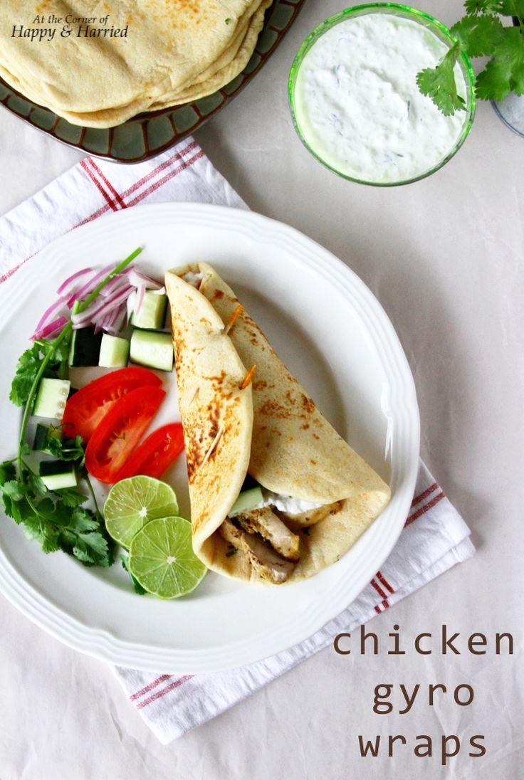 Homemade Greek Chicken Gyro Wraps