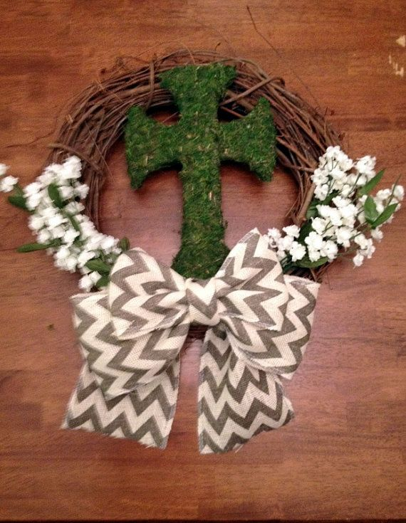 Easter Wreath - Spring/ Summer Grapevine Wreath- Moss Cross - Chevron - Burlap Bow-White Flowers