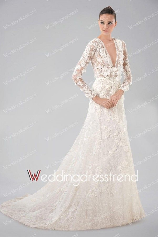Exquisite Floral Appliqued V-neck A-line Lace Long Sleeves Wedding Dress