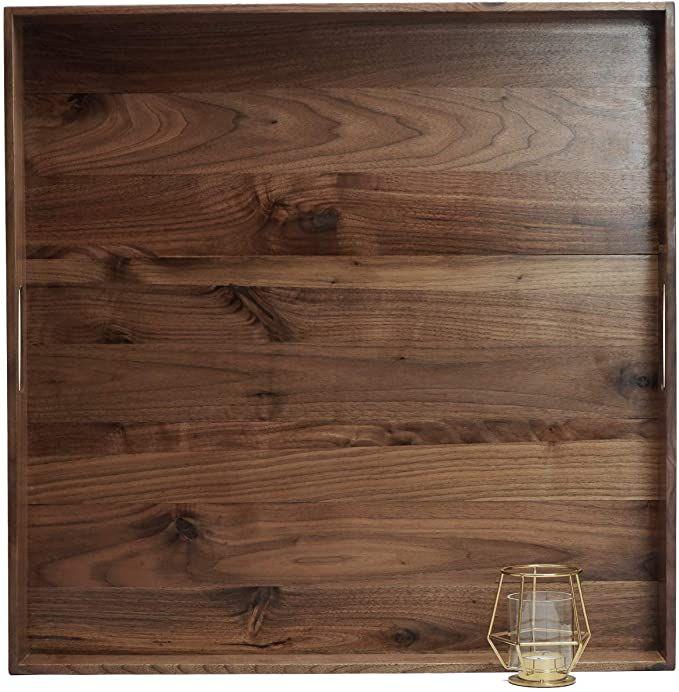 Amazon Com Magigo 24 X 24 Inches Extra Large Square Black Walnut Wood Ottoman Tray With Handles Serve Tea In 2020 Wood Ottoman Serving Tray Decor Black Walnut Wood