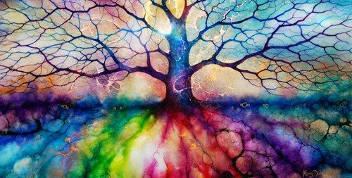 art rainbow painting fantasy water colour Inspiring magical tree of life faery FAE