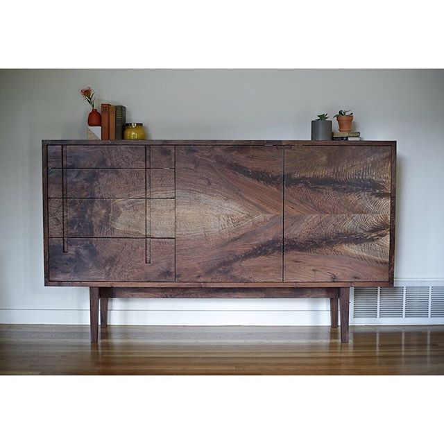 Just got to revisit this custom walnut sideboard today, and I was pleased to see it aging nicely. I finished it a while back for a repeat client, and although I rarely get to see the furniture we make again, its such a treat when I do. It's a good feeling seeing the pieces we make being used and loved, and knowing that they have become a part of people's stories and daily rhythms.... #furniture #walnut #handmade  @dlreamer /  @mlatka