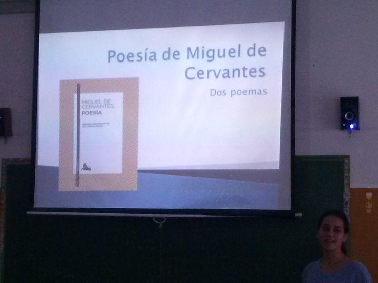 Exposiciones en el aula de alumnos de 1º Bchto A sobre la obra de Miguel de Cervantes. Propuesta de la profesora Yolanda Jiménez