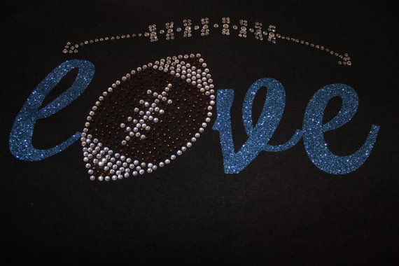 Football LOVE Glitter and Bling ShirtCustomized by SpunkySparkles, $27.00