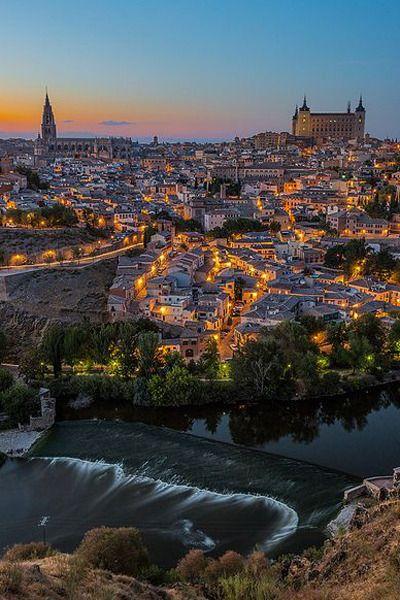 Evening lights in Toledo, Castilla La Mancha, Spain