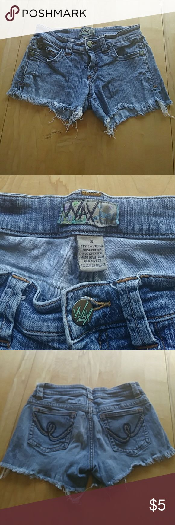 Blue Jeans Short Shorts There's not much to these shorts. I usually wore them while I was getting some sun in my yard , at the beach or by at the swimming pool. And there pretty old I wore them when I was a teen. wax Shorts Jean Shorts