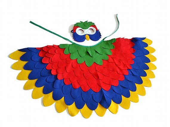 Children Parrot Costume Kids Bird Dress up Wings by BHBKidstyle. Tris-Red Bird for Halloween