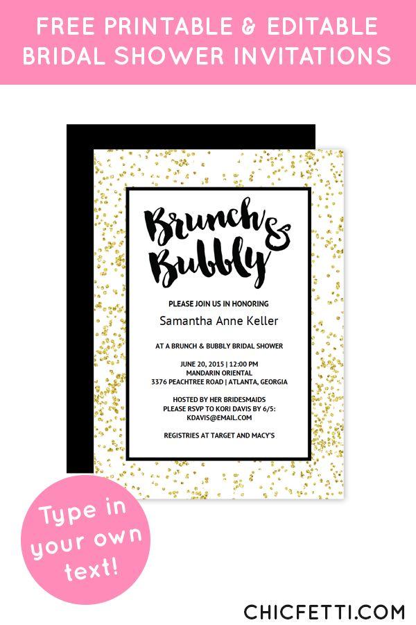 Gold Confetti Brunch Bubbly Bridal Shower Invitation