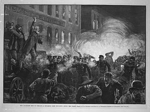 The Haymarket affair (also the Haymarket massacre or Haymarket riot) refers to the aftermath of a bombing that took place at a labor demonstration on Tuesday May 4, 1886, at Haymarket Square in Chicago. It began as a peaceful rally in support of workers striking for an eight-hour day. An unknown person threw a dynamite bomb at police as they acted to disperse the public meeting. The bomb blast and ensuing gunfire resulted in the deaths of seven police officers and at least four civilians.