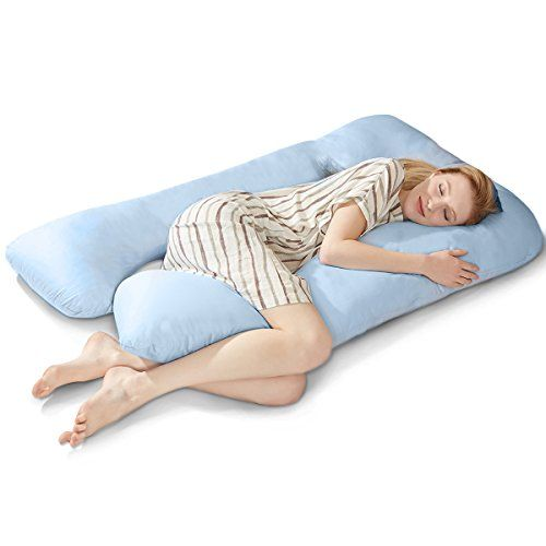 "Puredown U Shaped Maternity/Pregnancy Body Pillow with Zippered Cover, 32""x56"",Blue - Women who are pregnant can finally get a great night by sleep with our U Shaped- Premium Body Pregnancy Pillow. Pregnant women who struggle to find a comfortable position will love this pillow.The U Shaped Premium Contoured Body Pillow provides support for the back and belly at the same time. Thi..."