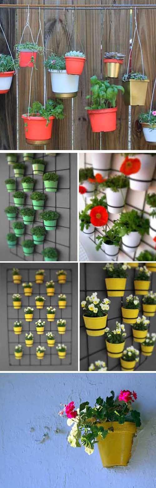Jardines verticales con macetas colgantes gardens coins - Como hacer jardines verticales ...