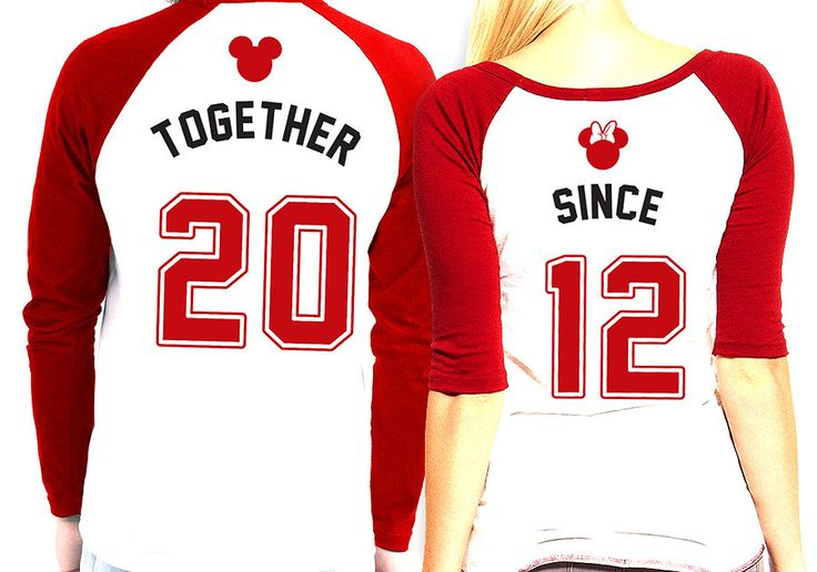 His and Hers matching Mickey and Minnie Raglan Shirts - His and Hers Baseball Shirts - Disney Couples Anniversary Year Shirts by PatsCustoms on Etsy