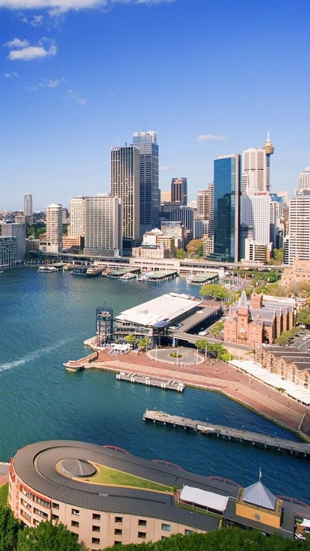 Downtown Sydney - If memory serves me right that down there would be the Sydney aquarium .