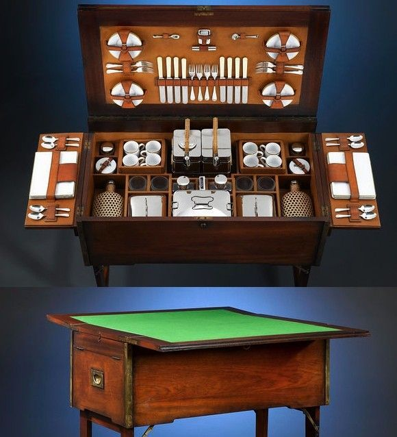 Expanding English Mahogany Picnic Chest And Games Table, British Colonial  Campaign Furniture