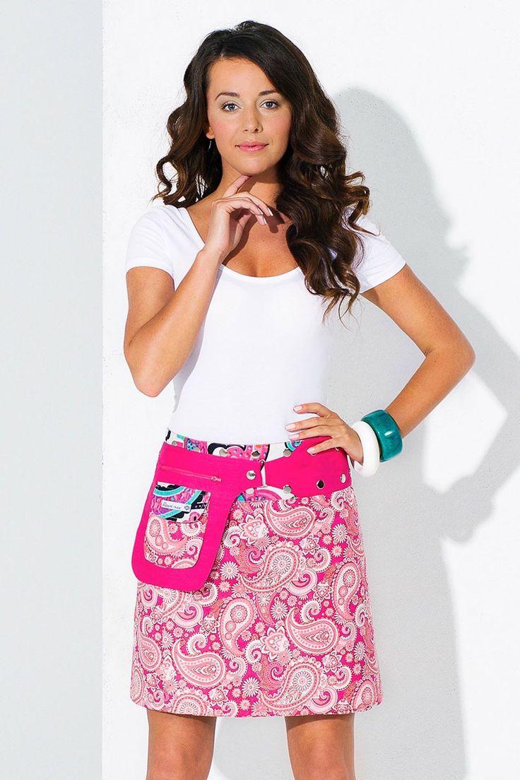 Dwustronna spódnica Miami, ręcznie wykonana, ze 100% bawełny - 1R7A9792