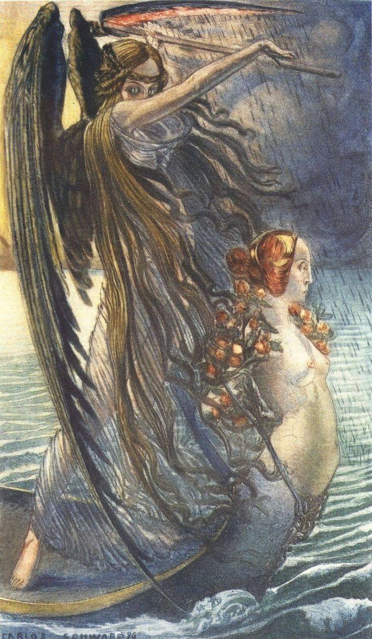 """Carlos Schwabe - La Mort -  1900 Peinture inspirée par """"Les Fleurs du Mal"""" de Charles Baudelaire."""