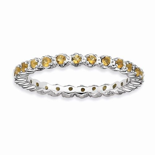 Sterling Silver Citrine Eternity Stackable Band