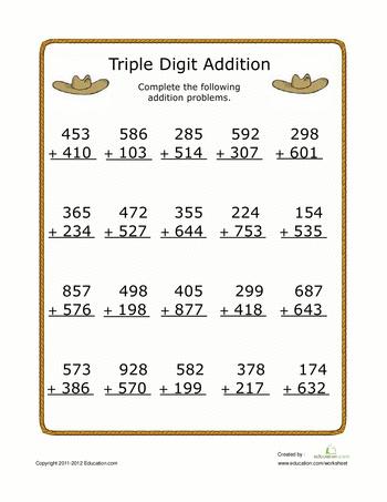 Worksheets: Triple Digit Addition