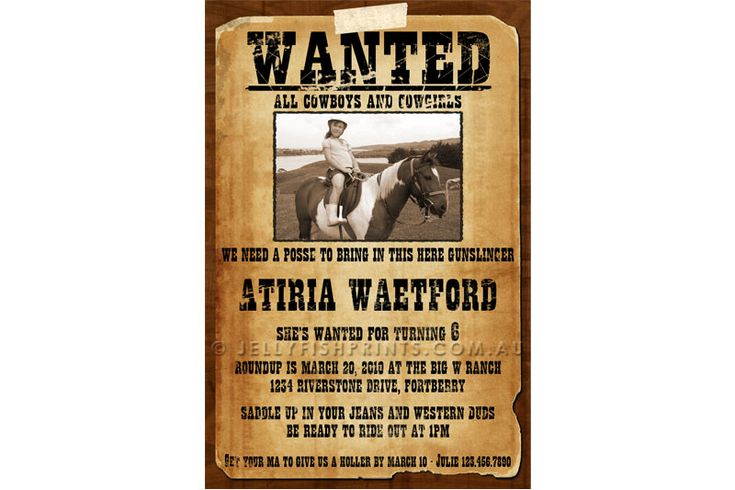 Printable Wanted Poster Cowboy Birthday Invitations for a kids western party. Put a photo of your child in this vintage styled invite.- Jellyfish Prints