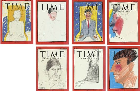 Artwork by David Hockney, Prince Charles (seven drawings for Time Magazine cover), Made of pencil on paper