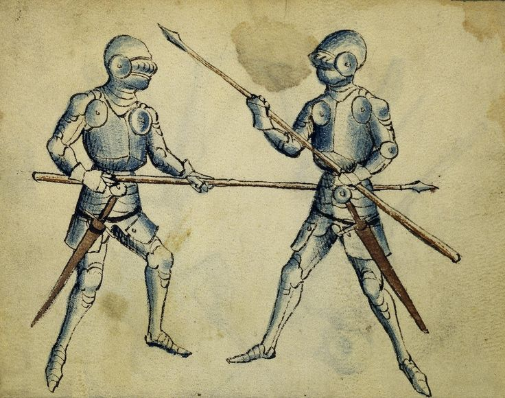 Cod. 11093, 2v: Book on Swordsmanship and Wrestling, mid-15th c. Austrian National Library, Public Domain