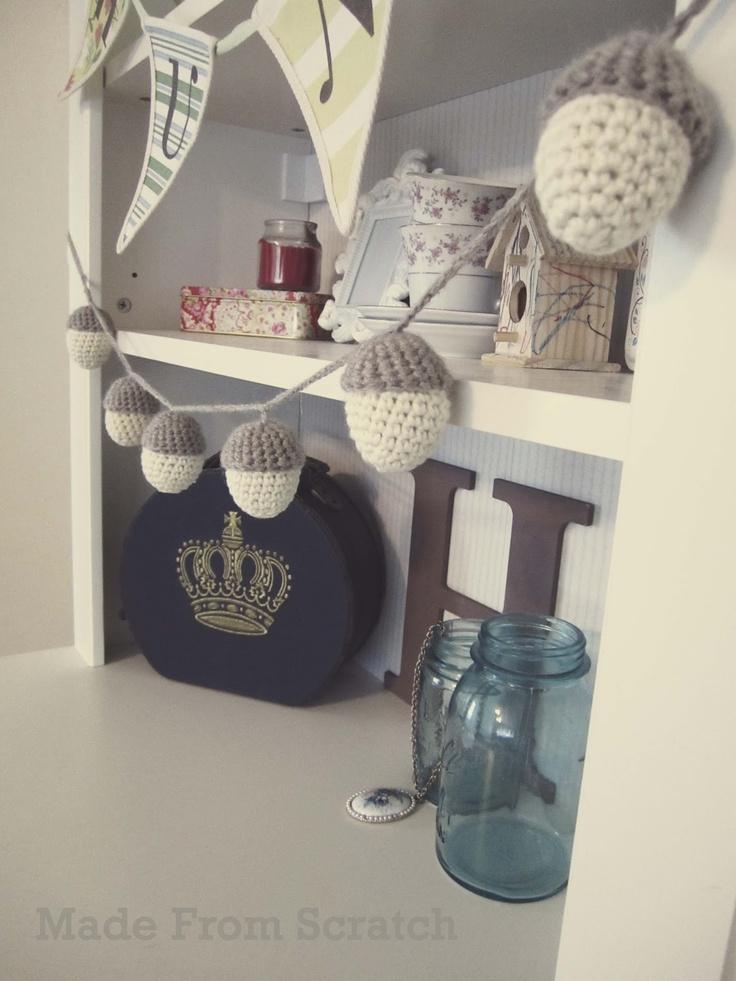 Acorn garland based on this pattern http://www.planetjune.com/blog/free-crochet-patterns/amigurumi-acorn/