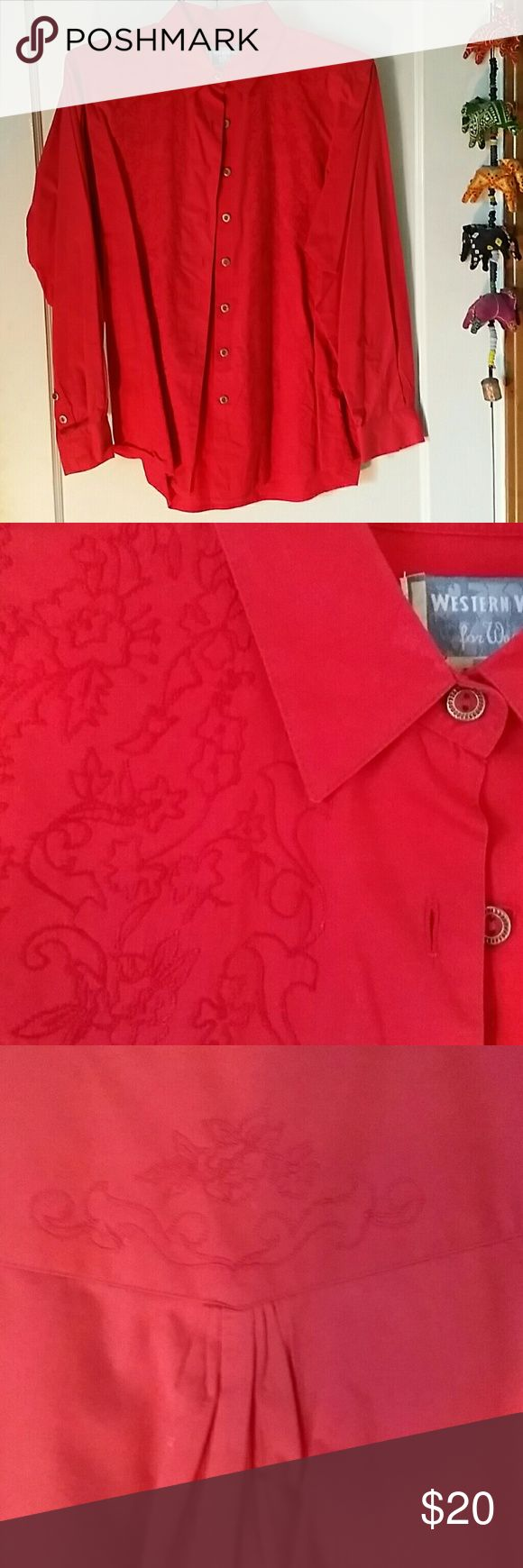 Bright red Wrangler Western Wear for Women shirt Bright jewel tone red. Never worn. Has just been sitting in the closet. 100% cotton Wrangler Tops Button Down Shirts