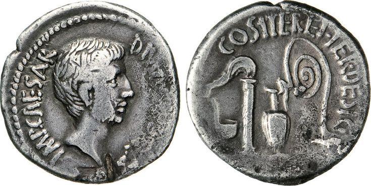 NumisBids: Numismatica Varesi s.a.s. Auction 65, Lot 140 : OTTAVIANO (37 a.C.) Denario. D/ Testa nuda R/ Strumenti...