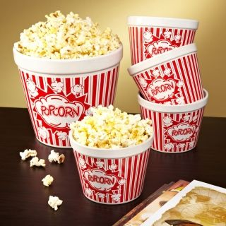 Movie Night Ceramic Popcorn Bowls. Set of 5--one family-sized bowl and 4 personal-sized. Perfect for game night!