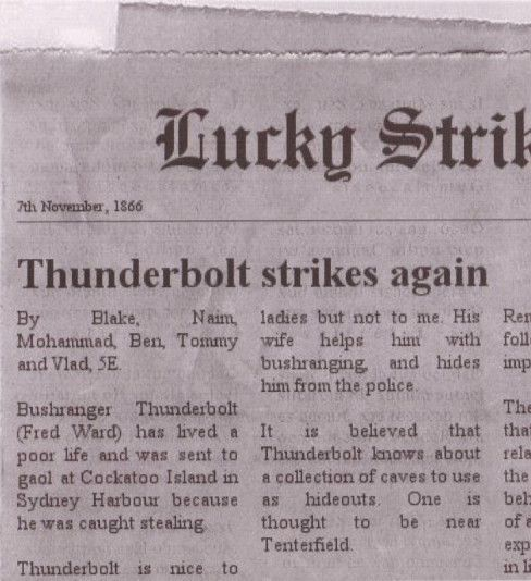 Newspaper article about Captain Thunderbolt