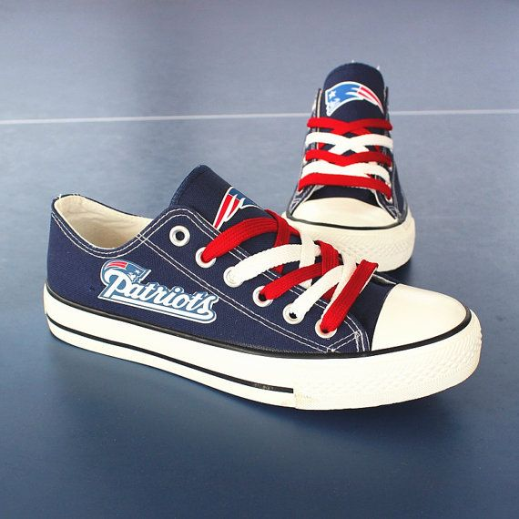 Blue and black New England Patriots sneakers shoes by Uteehavy