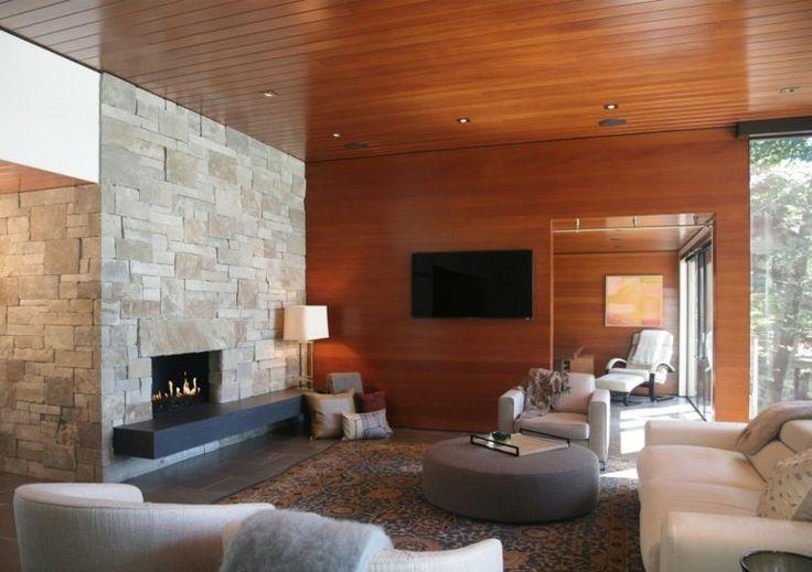 diseño de salon moderno con laminado de madera