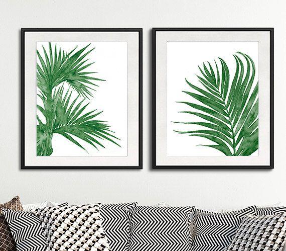 Palmblätter, grün Dekor Aquarellmalerei Minimlaist Dekor, moderner Wandkunst, Natur-Kunst - Satz von 2 Drucke - N9/6