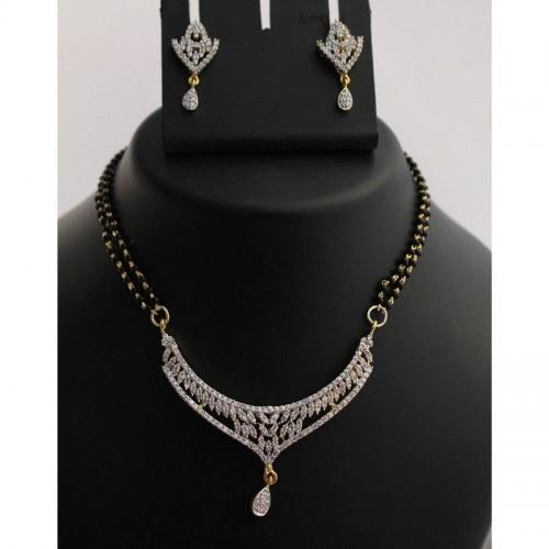 Rhodium Polished Mangalsutra Necklace Set