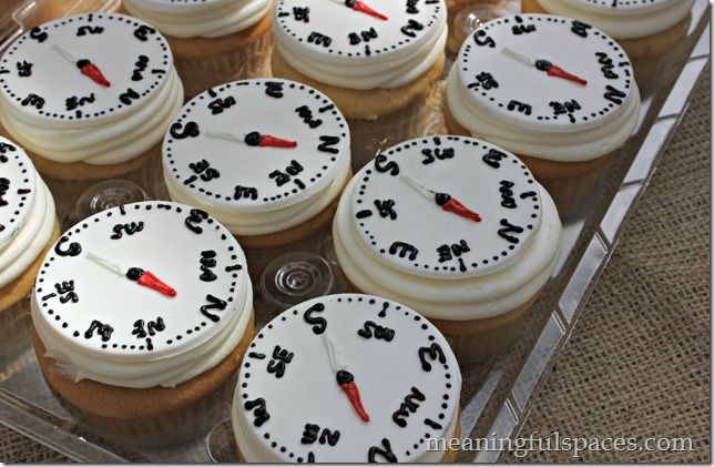compass cupcakes perfect for a hiking or camping birthday party