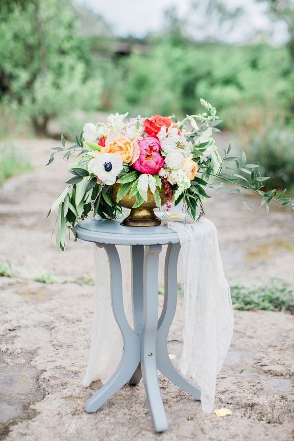 Stunning Summer Centerpiece with Coral Peonies and Black and White Anemones | Honey Gem Creative | http://heyweddinglady.com/preppy-southern-chic-summer-wedding-shoot/