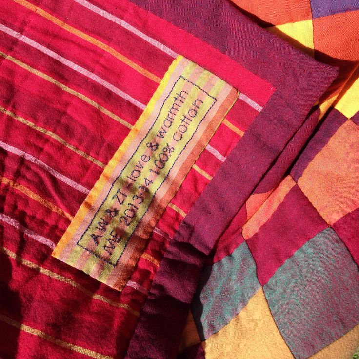Sunshine and Shadow Quilt for AW and ZT - embroidered label