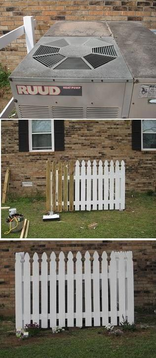 """I have an big old ugly air conditioner that faces the side street every one can see it  """" I'm lucky it still works """"  ..any way I love picket fences but cant afford to do the whole yard so I build  some around the air conditioner to hided it and next I'll do  the front corners of the property as a back drop  for my flowerbeds ."""